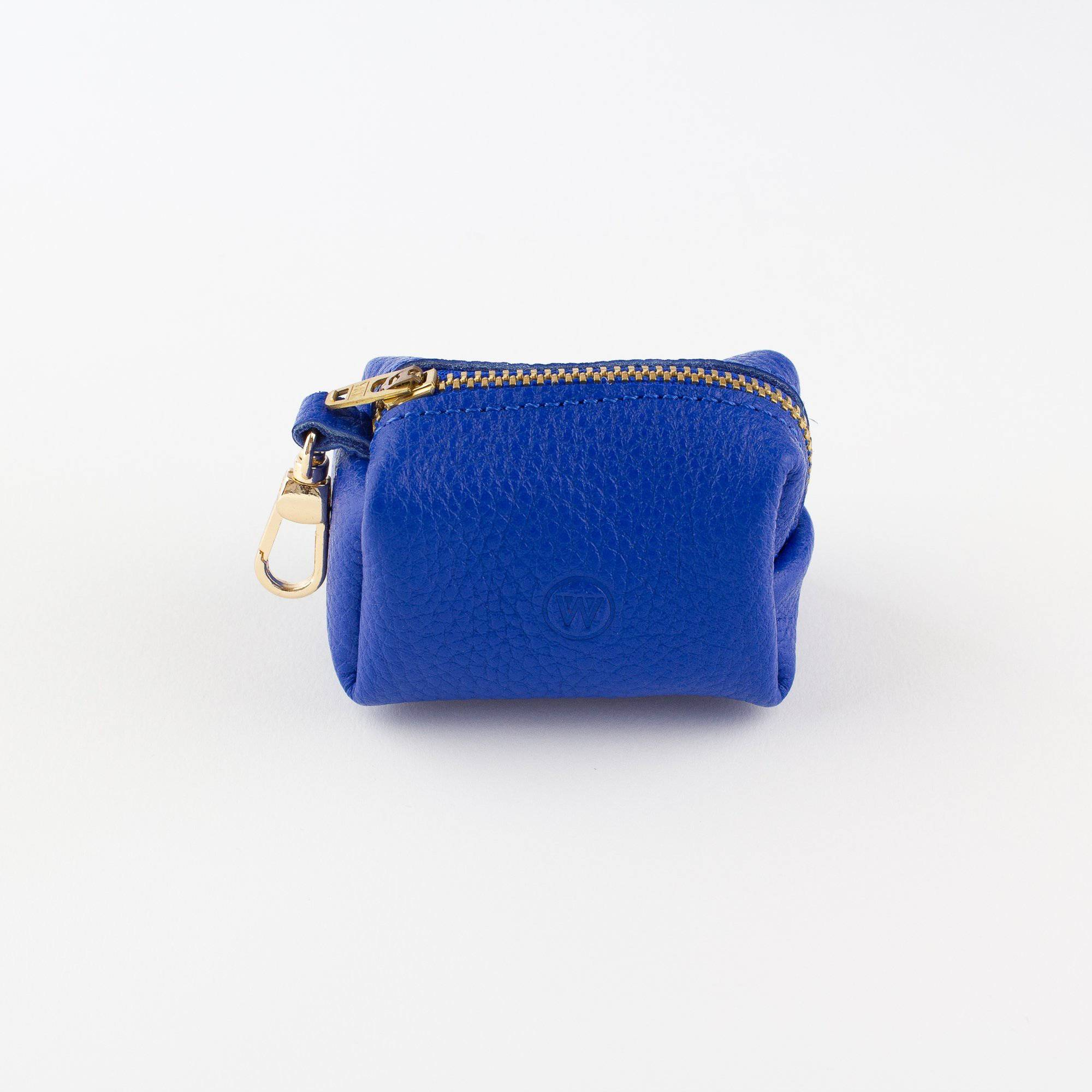 Blue - Leather Poo Bag Holder - Holler Brighton