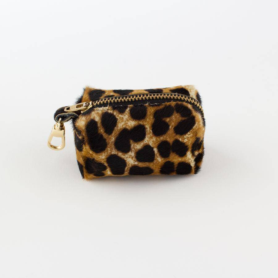 Leopard - Leather Poo Bag Holder - Holler Brighton