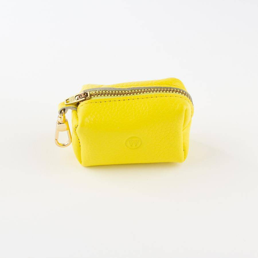 Yellow - Leather Poo Bag Holder - Holler Brighton