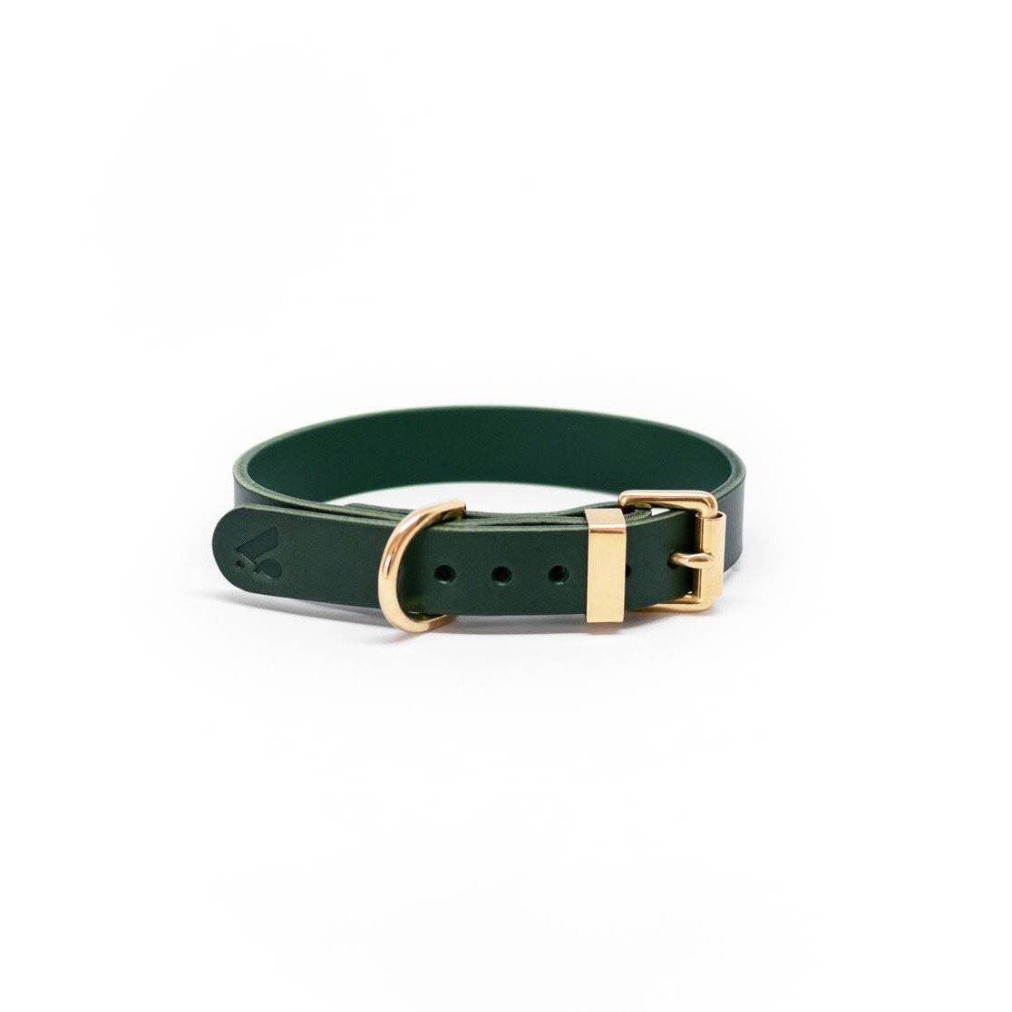 Green - Classic Leather Collar - Holler Brighton
