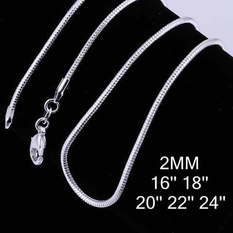"18"" 2mm Silver Plate Snake Chain"