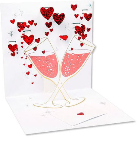 Champagne Romance Red Pop up card