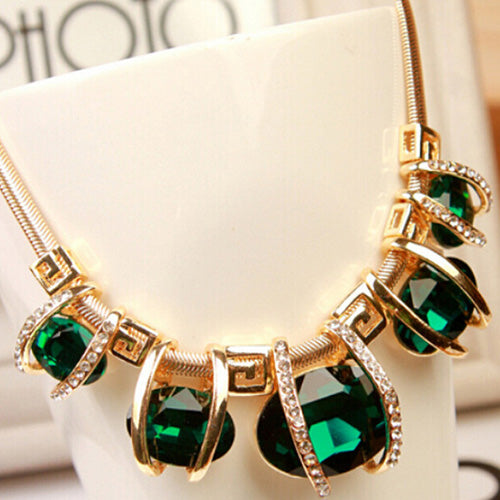GREEN Crystal Choker Necklace
