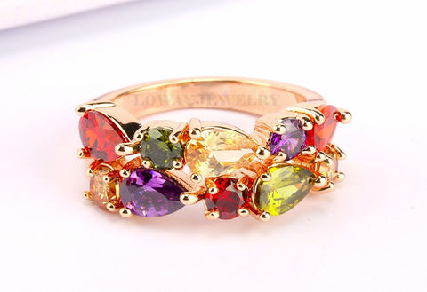 Multi Color CZ Ring: Size 6
