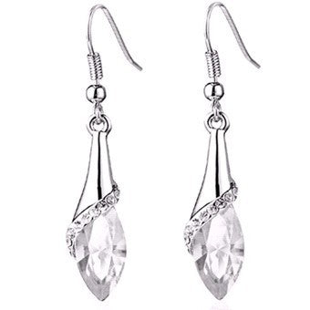 Water Drop Earring WHITE GOLD - CLEAR