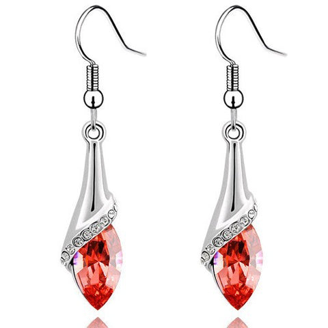 Water Drop Earring WHITE GOLD - RED