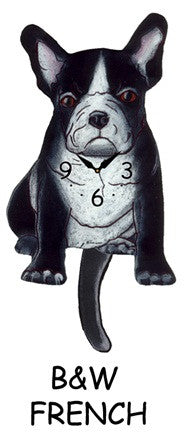 Clock Black & White French Bulldog