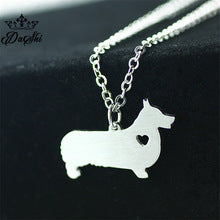 Corgi Heart Necklace: Silver Color