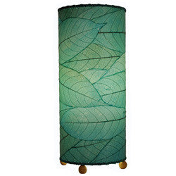 Cocoa Leaf Cylinder Table Lamp - Blue