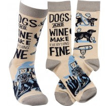 Dogs & Wine Make Everything Fine Socks