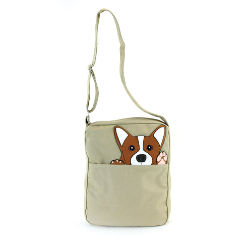 Peeking Corgi Messenger Canvas Bag