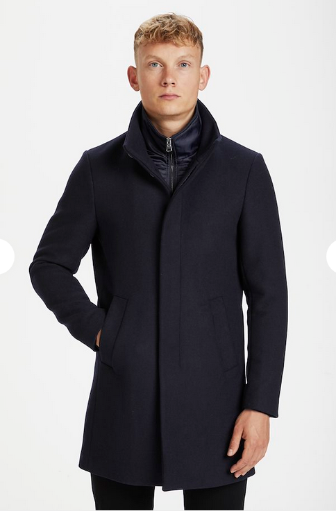 Matinique Harvey Navy Wool Coat