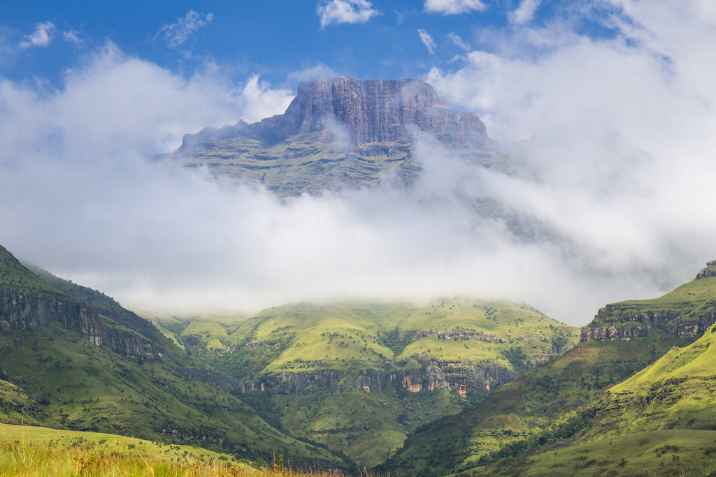 Champagne Castle in the Central Drakensberg above the clouds