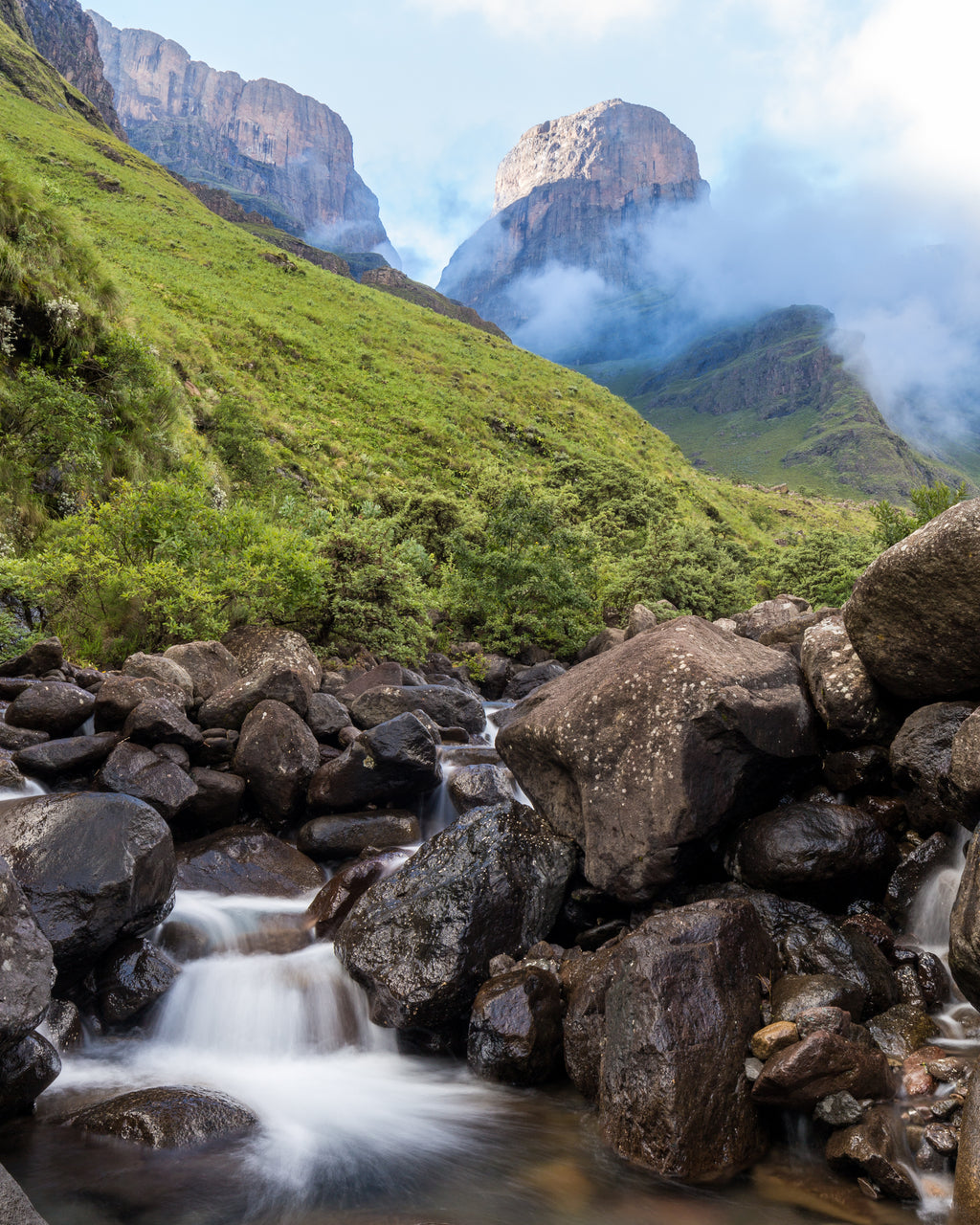 Small creek with a little waterfall in the Central Drakensberg mountains