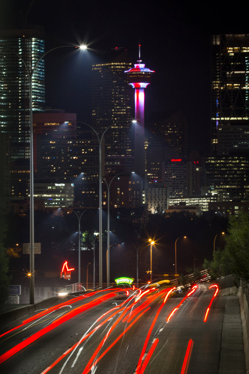Calgary Tower at night from Macleod Trail