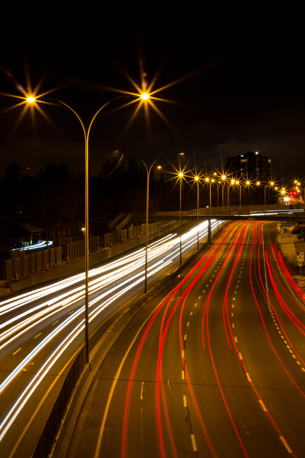 Crowchild Trail taillights and headlights, night photography, Calgary Alberta