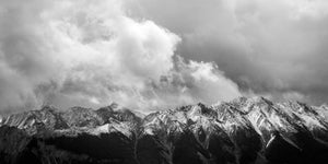 Black and white mountain photo. The Opal Range in Kananaskis, Alberta