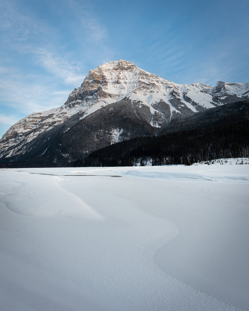 Mount Stephen in winter, Kicking Horse River, Field, Yoho National Park