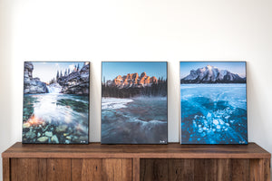 Castle mountain, Abraham Lake and Elbow Falls photography wall art samples