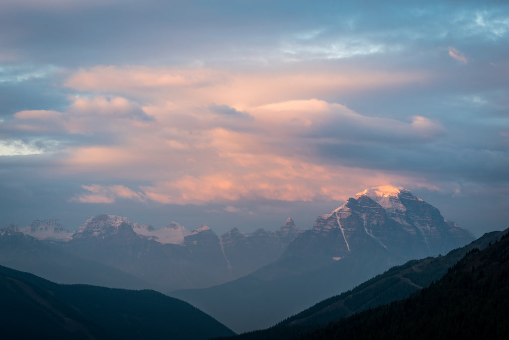 Mount Temple at sunrise, Lake Louise, Banff National Park, mountain landscape photography