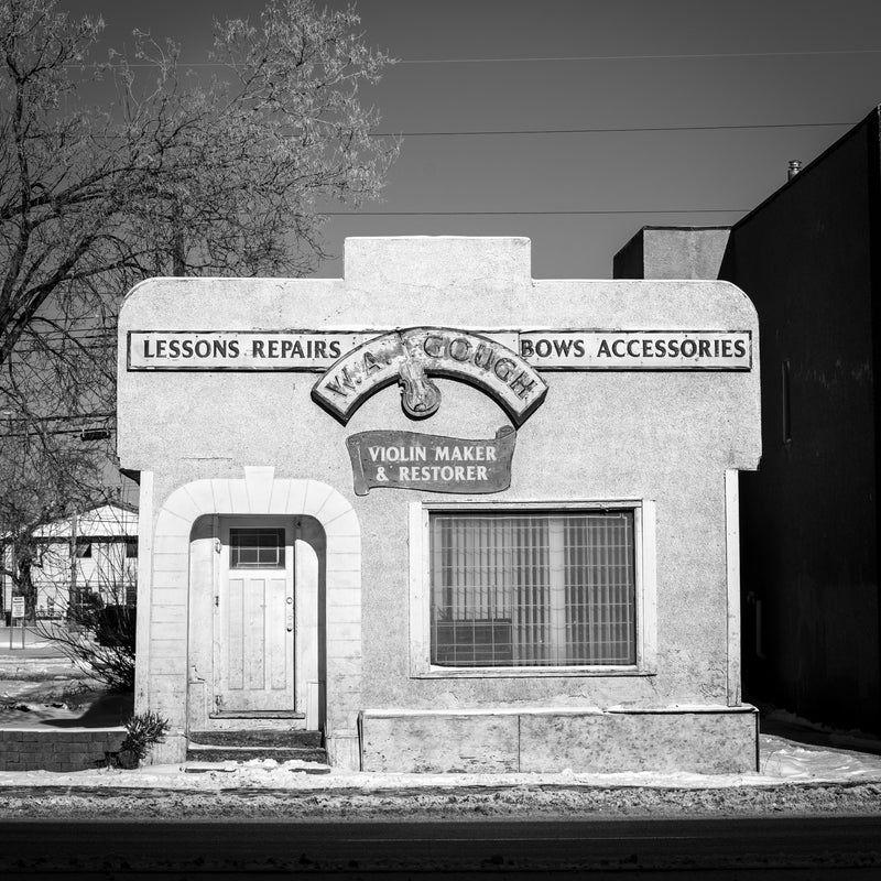 WA Gough violins building, violin maker shop, black and white photography, Alberta