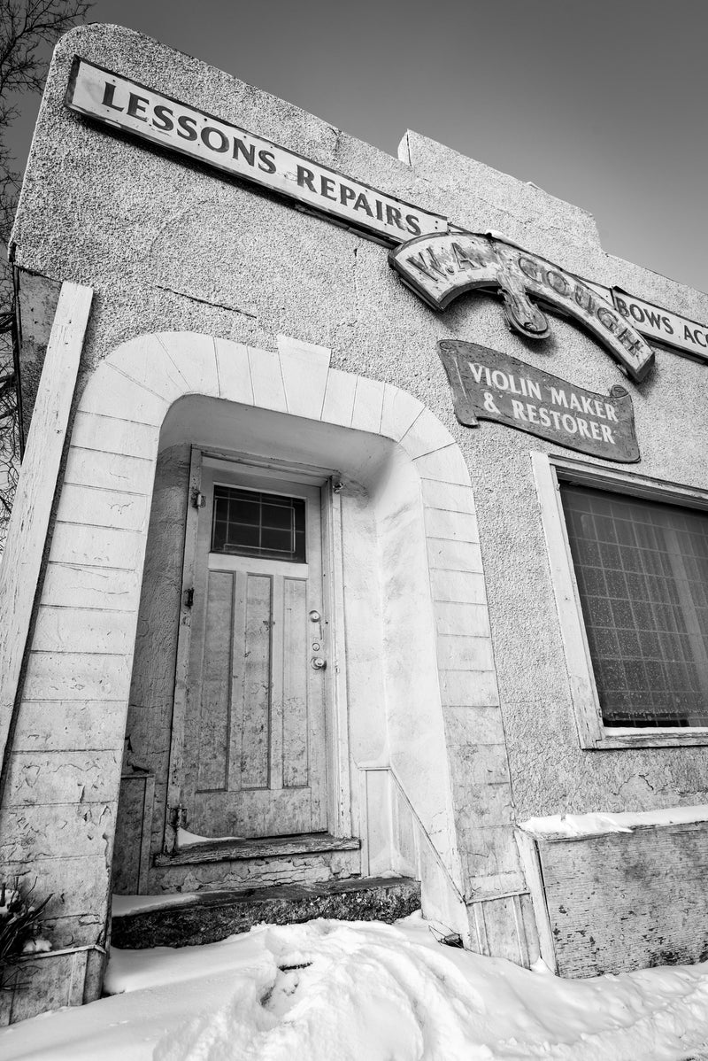 WA Gough Violin shop entryway, Calgary historic building, black and white