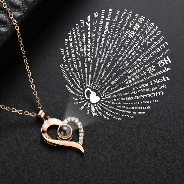 100 Languages I Love You Nano Projection Pendant Necklace