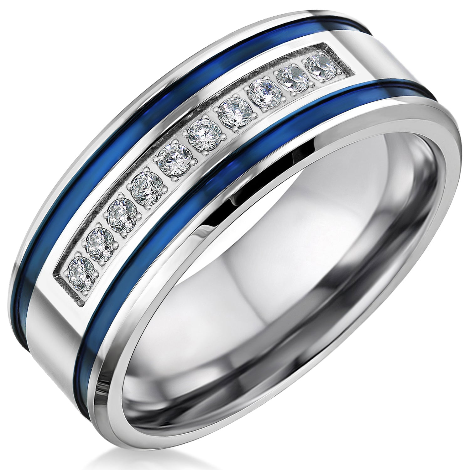 Mens Wedding Bands Stainless Steel Cubic Zirconia 8mm Blue Stripes Engagement Rings for Him