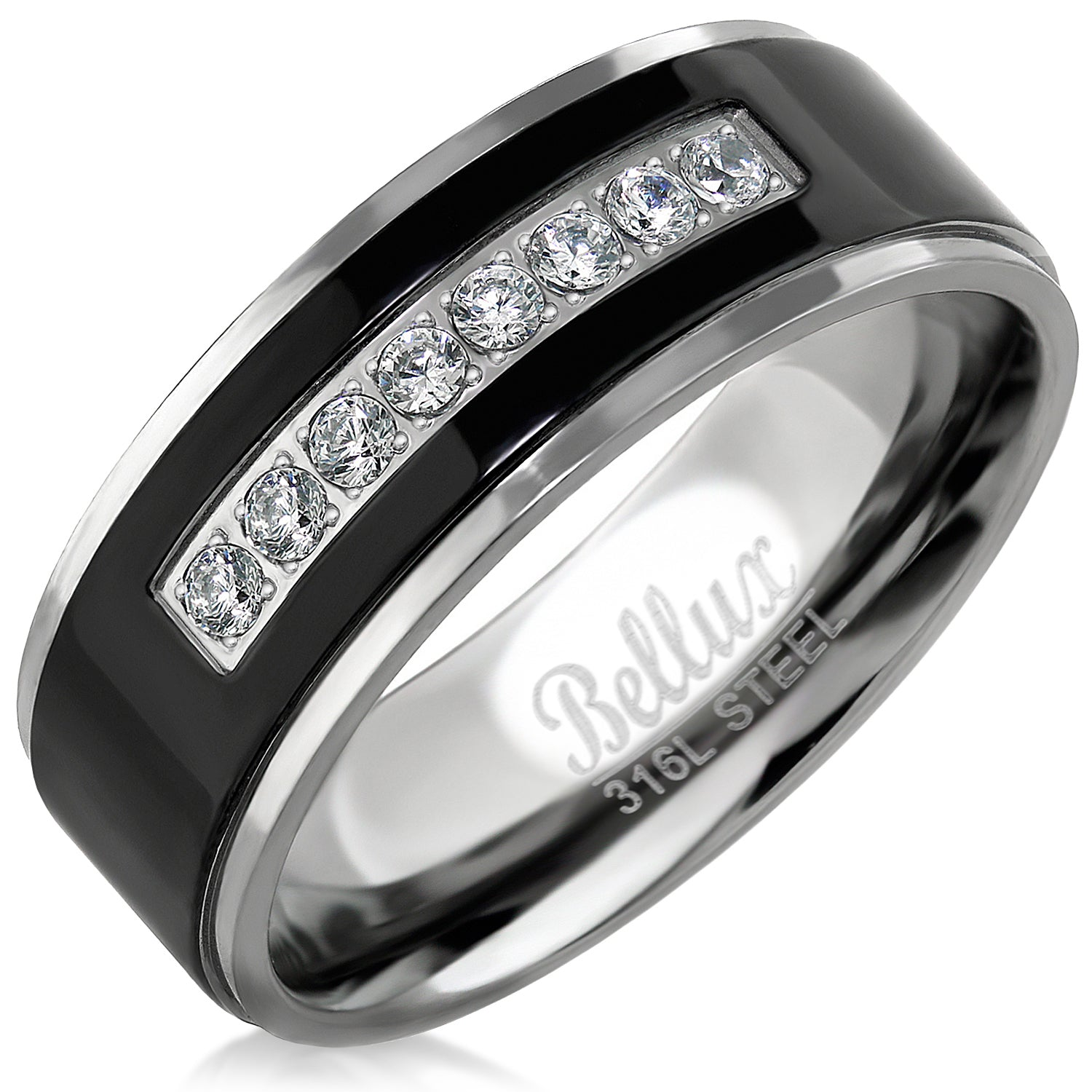 Mens Wedding Bands Stainless Steel Promise Rings for Him Silver Black Comfort-Fit Engagement Ring