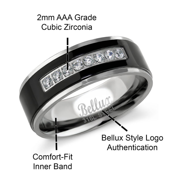 His and Hers Wedding Ring Sets Stainless Steel Halo Bridal Sets Wedding Rings Matching Wedding Band