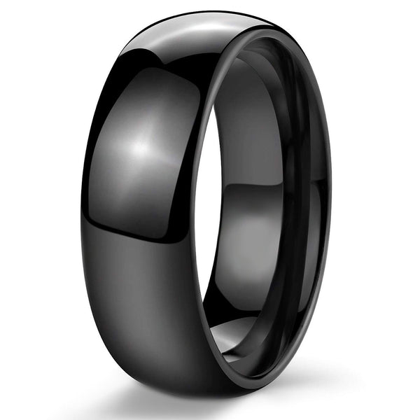 Mens 8mm Black Ion Plated 8mm Stainless Steel Ring Band