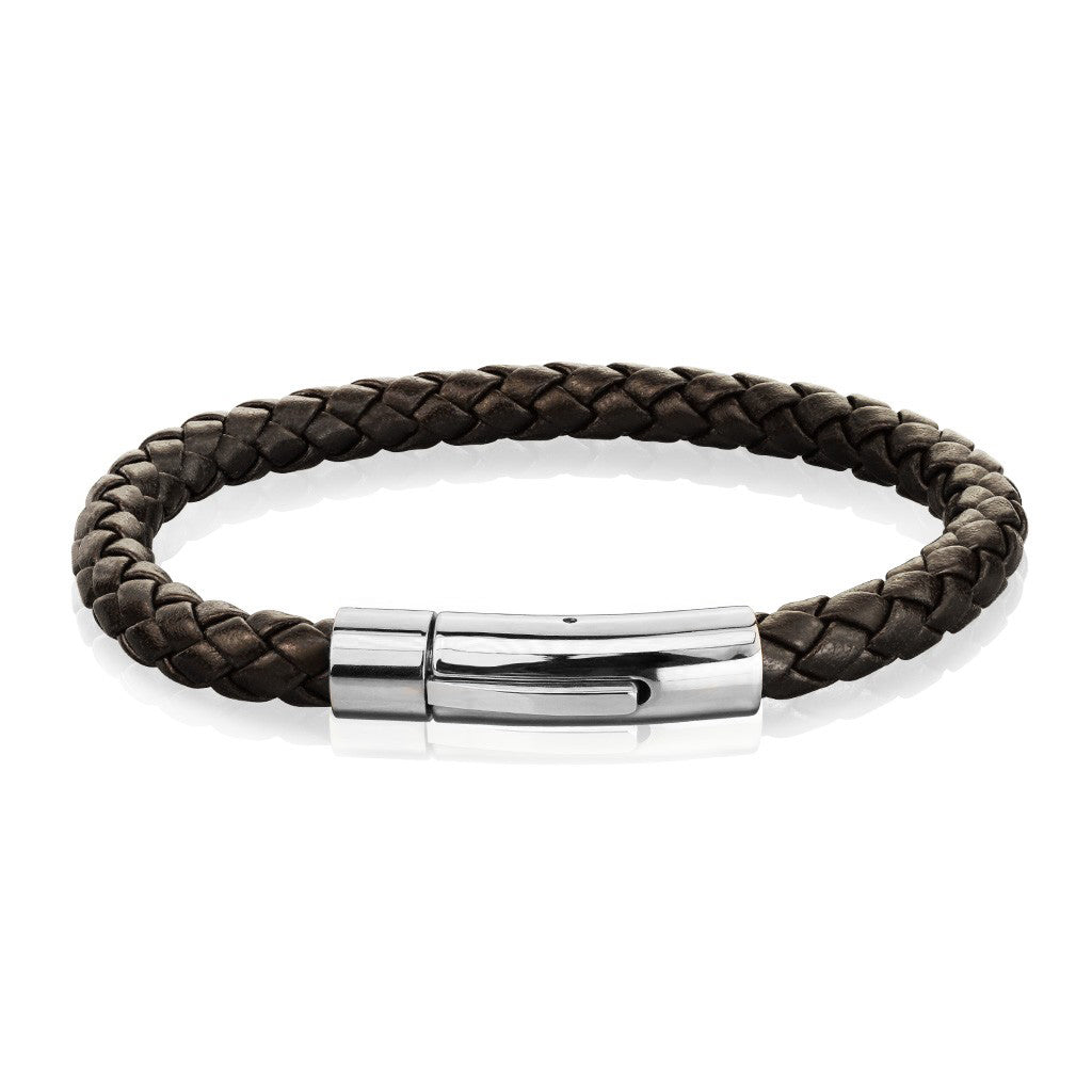 Unique Mens Dark Brown Leather Bracelet With Stainless Steel Clasp