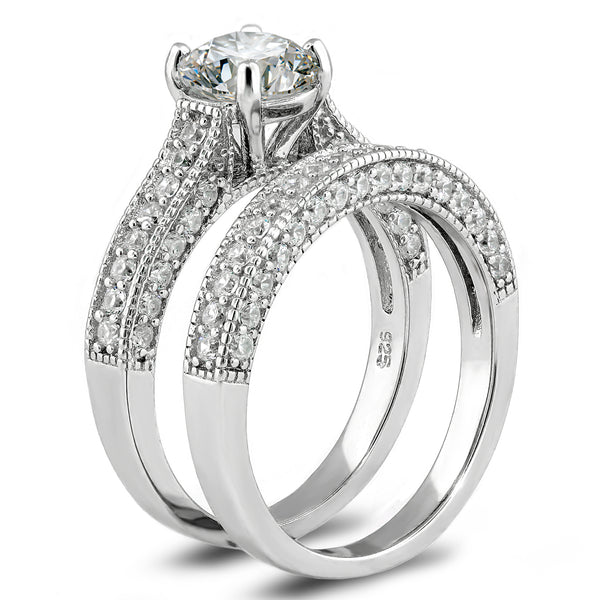 925 Sterling Silver 2.63 Carats Bridal Set Engagement Wedding Rings Set Cubic Zirconia