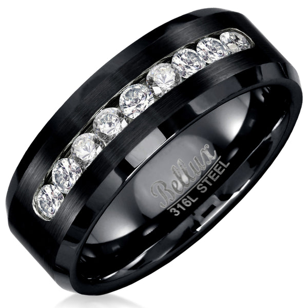 Men's Black Ion Plated 8mm Wide 316L Stainless Steel Casual wedding Ring band