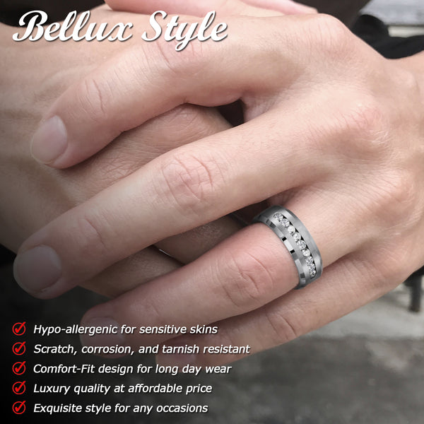 Wedding Rings Set for Him and Her 3-Piece Stainless Steel Rings for Couples with Stud Earrings