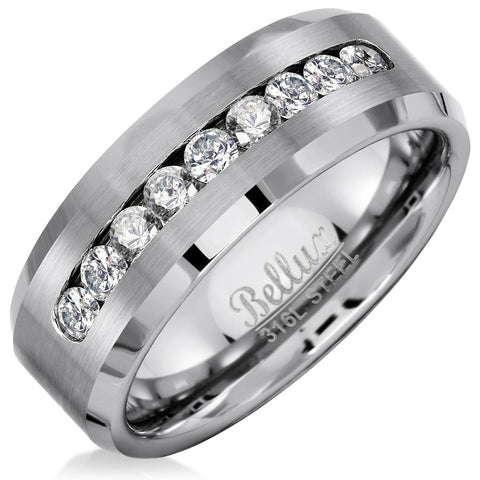 Mens Stainless Steel Ring Band Stainless Steel Beveled Edge 8mm Cubic Zirconia Wedding Rings for Him