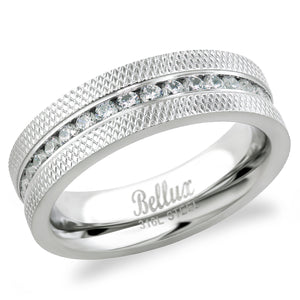 Unisex 316L Stasinless Steel Eternity Weddig Ring Band