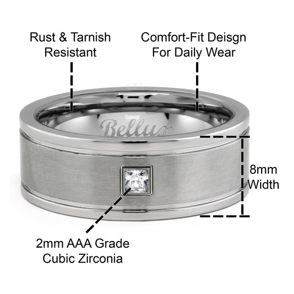 Stainless Steel Mens Wedding Rings CZ Wedding Bands for Him Comfort-Fit Brushed Silver Rings