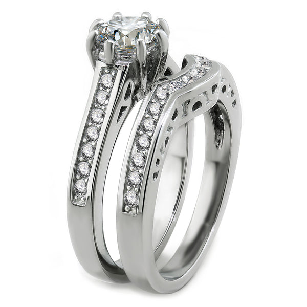 His and Hers Stainless Steel CZ Bridal Matching Wedding Ring Set + Sterling Silver Stud Earrings