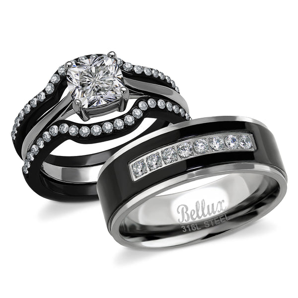 His and Hers Couples Wedding Engagement Rings Stainless Steel Women CZ Ring Sets & Mens Black Bands
