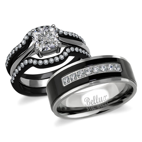 His and Hers Engagement Rings for Women - Wedding Rings for Women - Couples Rings - Promise Rings for Couples - Stainless Steel 1.03 Carats 3-Piece CZ Ring Sets & Mens Matching Black Bands