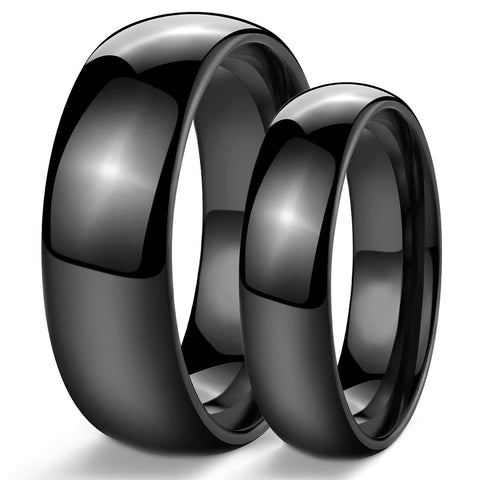 Stainless Steel Black Couples Rings Women 6mm & Men 8mm