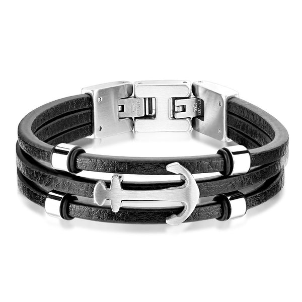 Multi Strand Black Leather Stainless Steel Anchor Bracelets