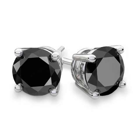 Unisex .925 Sterling Silver 6mm Black Cubic Zirconia Stud Earrings