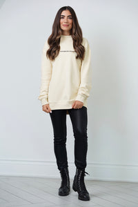 Covered By Grace - Mock Neck Sweater in Alabaster