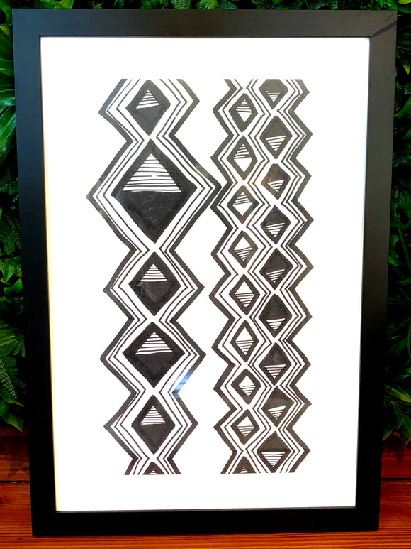 Mud Cloth Study Painting - Framed