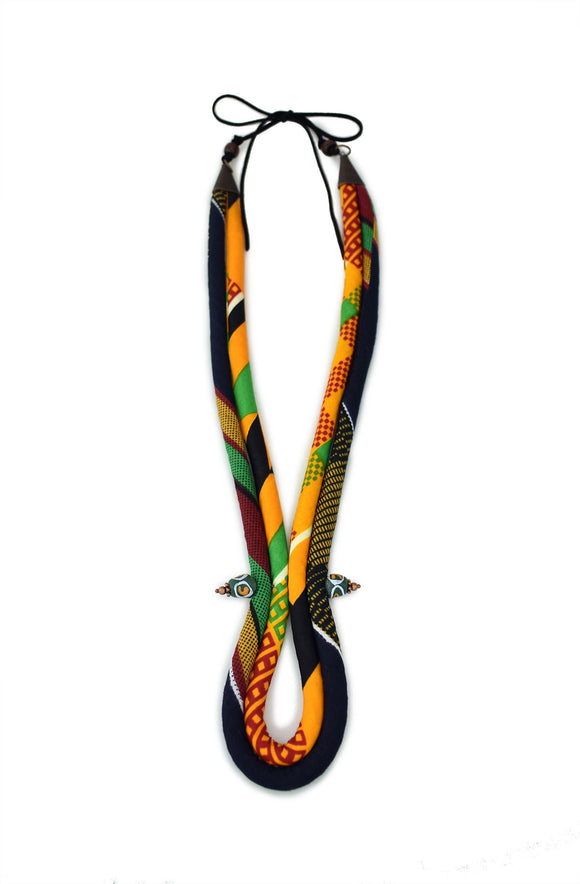 Men's Corded Necklace - Kente Yellow, Black