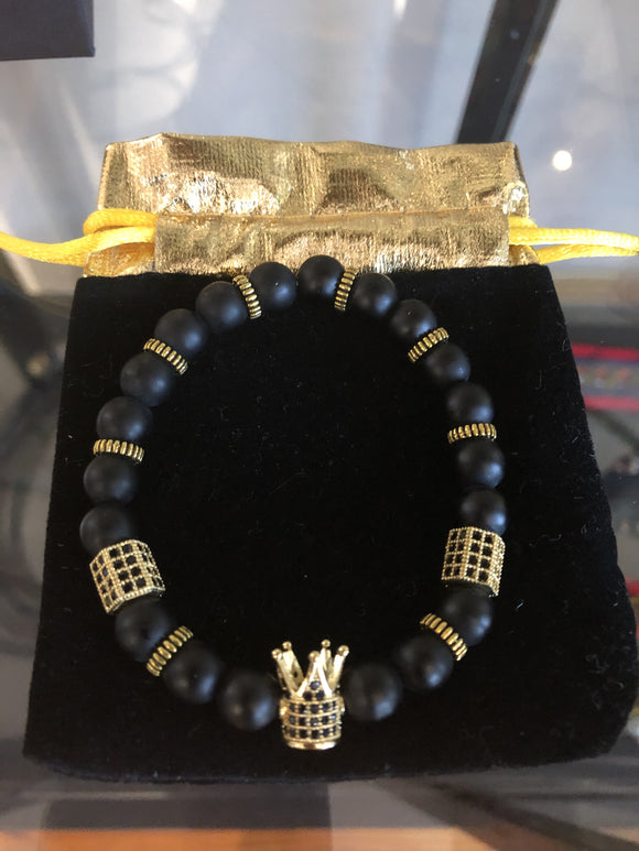 Black Gold Crown Bracelet