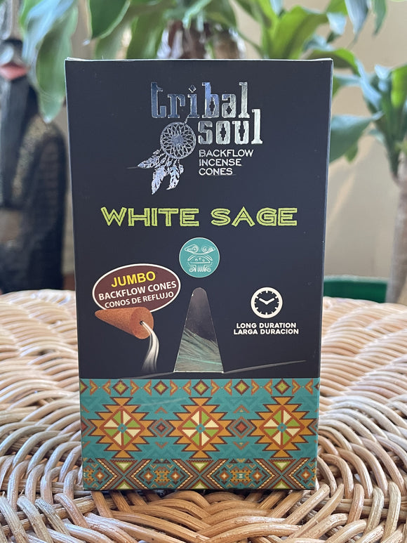 Tribal Soul Backflow Incense Cones - White Sage