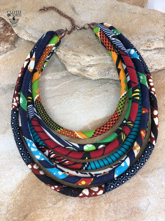 Women's Dahlia Multi Strand Bib Necklace - Ankara